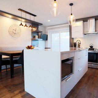 armoires de cuisine blanche en mélamine