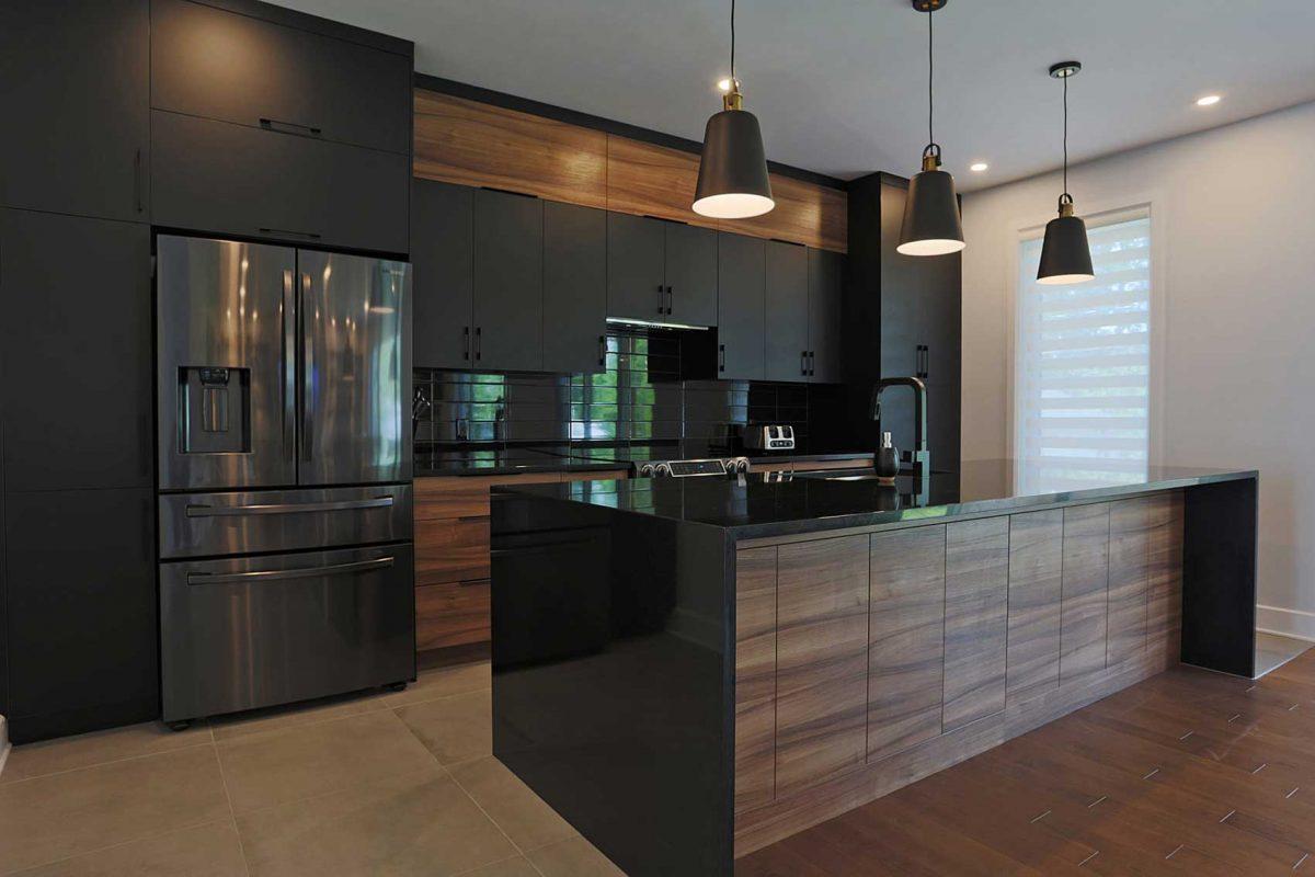 armoires de cuisine noires
